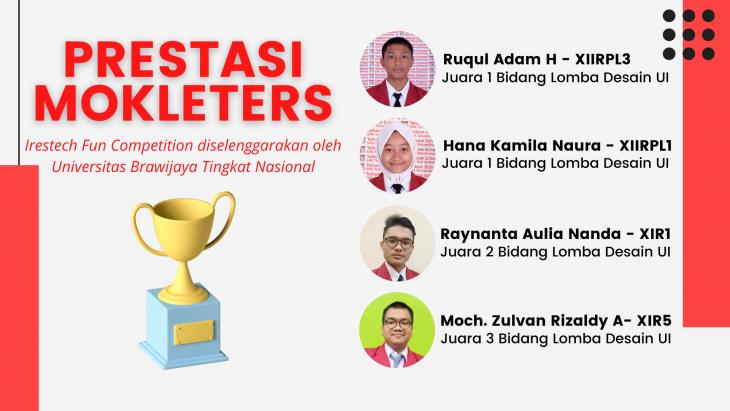 SMK Telkom Malang meraih juara 1, 2, dan 3 Tingkat Nasional di Irestech Fun Competition yang diselenggarakan oleh Universitas Brawijaya